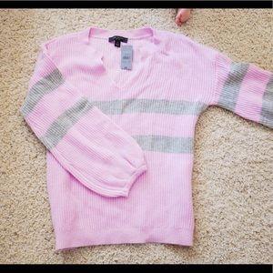 Ann Taylor Striped Grey Pink Flutter Sweater